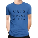Retro Cats Books & Tea Printed Short Sleeve Crew Neck Regular Fit Tee Top for Men