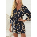 Unique Womens Rope Allover Print Long Sleeve V-neck Tied Waist Mini Pleated A-line Dress in Blue