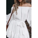Ethnic Womens Hollow out Fringe Long Sleeve Off the Shoulder Bow Tied Waist Ruffled Mini Pleated A-line Dress in White