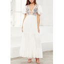 Ethnic Ladies White Floral Embroidery Short Sleeve Deep V-neck High Cut Ruffled Maxi Pleated A-line Beach Dress