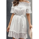 Popular Womens Polka Dot Printed Ruffled Bell Sleeve Off the Shoudler Bow Tied Waist Short Pleated A-line Dress