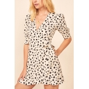 Stylish Womens Polka Dot Print Short Sleeve Surplice Neck Bow Tied Mini Wrap Dress in White