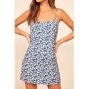 Pretty Womens Ditsy Floral Printed Spaghetti Straps Mini A-line Cami Dress in Light Blue