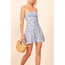 Chic Womens Allover Flower Print Spaghetti Straps Mini Pleated A-line Cami Dress in Light Blue