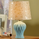 Vase Shaped Ceramics Desk Light Traditional Single Light Living Room Night Table Lamp in Blue with Barrel Beige Fabric Shade