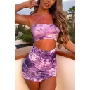 Stylish Womens Dragon Printed Oblique Halter Cut out Front Slit Mini Fitted Cami Dress in Purple