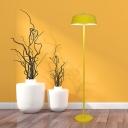 Bowl Metal Standing Floor Light Macaron Pink/Yellow LED Floor Reading Lamp for Living Room