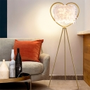 Postmodern Cylinder Floor Light Goose Feather 1 Bulb Bedroom Stand Up Lamp with Tri-Leg and Loving Heart Frame in Gold/Black