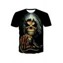 Dressy 3D Skull Hand Wolf Pattern Short Sleeve Round Neck Regular Fitted T-Shirt for Men