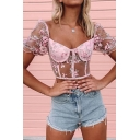 Fancy Sheer Mesh All over Floral Embroidered Short Sleeve Sweetheart Neck Slim Fit Cropped Tee Top in Pink