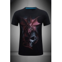 Mens 3D Fashionable Dragon Skull Pattern Crew Neck Short Sleeve Slim Fit T-Shirt