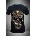 Mens 3D Vintage Skull Printed Slim Fitted Short Sleeve Crew Neck Tee Top