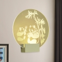 Chinese Panda-Bamboo Acrylic Wall Lamp LED Wall Mount Mural Lighting in Clear for Bedroom