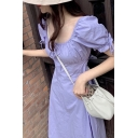 Fashion Womens Bow Tied Puff Sleeve Square Neck Ruched Mid A-line Dress in Purple