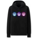 Cool Mens Virus Pattern Pocket Drawstring Long Sleeve Regular Fit Hooded Sweatshirt