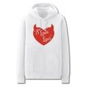 Cool Mens Heart Letter I Love Luci Printed Pocket Drawstring Long Sleeve Regular Fit Graphic Hooded Sweatshirt