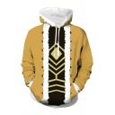 Popular Geometric 3D Print Contrasted Long Sleeve Drawstring Kangaroo Pocket Loose Anime Hoodie in Yellow