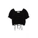 Chic Girls Solid Color Double Ruched Drawstring Ruffle Trim Square Neck Short Puff Sleeve Slim Fit Crop Blouse