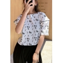 White Casual Girls Ditsy Floral Printed Piping Button Detail Back Crew Neck Short Puff Sleeve Relaxed Fit Shirt