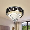 Beveled Crystal Flower Ceiling Flush Modernism LED Stainless-Steel Flushmount Lighting for Bedroom