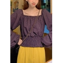 Stylish Checkered Blouson Sleeve Square Neck Ruched Elastic Hem Relaxed Blouse for Girls