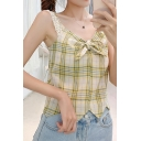 Pretty Womens Plaid Print Lace Straps Bow Tied Patched Scalloped Relaxed Fit Tank Top