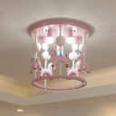 Unicorn Flush Light Fixture with Carrousel Design Cartoon Resin 6 Bulbs Blue/Pink Flush Mount