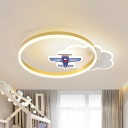Metal Ring and Cloud Ceiling Flush Nordic Style LED Gold Flushmount Lighting with Aircraft Deco