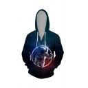 Leisure Mens Astronaut 3D Printed Zipper Pocket Drawstring Long Sleeve Fitted Hooded Sweatshirt