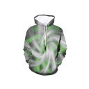 Mens Cool 3D Print Visual Deception Pocket Drawstring Fitted Long Sleeve Hoodie