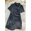 Cool Ladies Solid Color Button Down Pleated Lapel Collar Short Sleeve Midi Fitted A Line Dress
