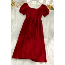 Glamorous Womens Pleated Patchwork Beading Lace Trim Square Neck Short Puff Sleeve Midi Flowy A Line Dress in Red