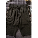 Fashion Men's Shorts Letter Pattern Tape Decoration Drawstring Waist Pocket Knee Length Fitted Lounge Shorts