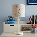 Cylinder Shade Table Light Cartoon Patterned Fabric 1 Light White Reading Book Lamp