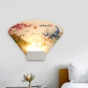 Sector Acrylic Wall Sconce Lighting Chinese LED White Wall Mural Lamp Fixture with Peacock and Mountain Pattern