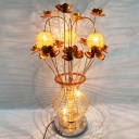 Flower and Vase Bedroom Desk Light Art Deco Aluminum Wire LED Gold Nightstand Lamp