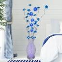 Lotus Aluminum Wire Standing Floor Light Art Deco LED Bedroom Vase Floor Lamp in Blue