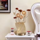 LED Flower Table Lamp Art Deco Silver Metallic Wire Desk Lamp with Spiral Stacked Triangles Vase Design