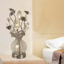 Lotus Bedside Night Table Light Art Deco Metal Wire LED Silver Vase Nightstand Lamp