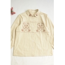 Cute Girls Bear Embroidery Footprint Detail Contrast Piping Button Down Pleated Collar Long Sleeve Relaxed Fit Shirt