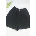Chic Girls Solid Color Pockets Pleated Elastic Waist Loose Fit Relaxed Shorts