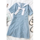 Womens New Stylish Bow Patchwork Piped Pleated Zip Back Sailor Collar Short Sleeve Midi A Line Dress in Blue