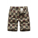 Dressy Mens Shorts Checked Pattern Pocket Drawstring Button Zipper Mid Rise Regular Fitted Shorts