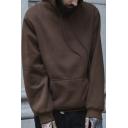 Simple Men's Hoodie Plain Drawstring Pocket Regular Fitted Full Sleeve Hoodie