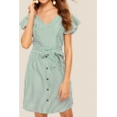Trendy Stripe Printed Butterfly Sleeve V-neck Bow Tied Waist Button down Short A-line Dress in Green