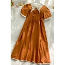 Elegant Womens Color Block Pleated Tie Contrast Stitching Bow Back Cut Out Square Neck Short Puff Sleeve Midi A Line Dress