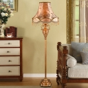Empire Shade Living Room Floor Lighting Country Style Fabric Single Gold Standing Floor Lamp