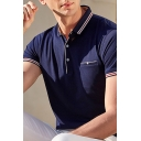 Trendy Mens Polo Shirt Contrasted Trim Button Spread Collar Short Sleeve Regular Fitted Polo Shirt with Pocket