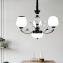 White Frosted Glass Black Pendant Lamp Jar Shade 3/6/8-Head Countryside Ceiling Chandelier