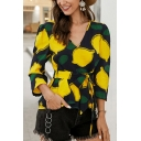 Novelty Womens Fruit Pattern Bow Tie Waist V Neck 3/4 Sleeve Pullover Shirt